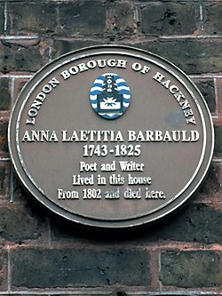 Anna laetitia barbauld 1743 1825 poet and writer lived in this house from 1802 and died here