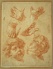 Preliminary sketch of two children's heads, three children's hands and a child's foot