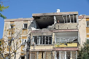 Operation Pillar of Defense - Israeli apartment building in Kiryat Malakhi hit by Gaza rockets