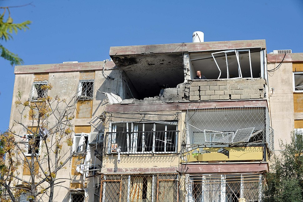 Apartment building in the Israeli town of Kiryat Malachi that took a direct hit from a Hamas rocket. 3 residents were killed, and several others seriously wounded including a 1.5 year old baby