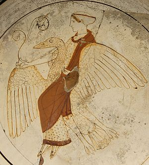 Ancient Greek religion - Aphrodite riding a swan: Attic white-ground red-figured kylix, ca. 460, found at Kameiros (Rhodes)