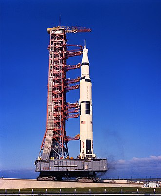 Mobile Launcher Platform 3 - A Saturn V with Apollo 11 atop is rolled out atop ML-1
