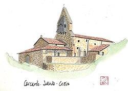 Aquarelle de l'église de Carcarès-Sainte-Croix.jpg