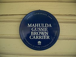 Photo of Mahulda Gussie Brown Carrier blue plaque