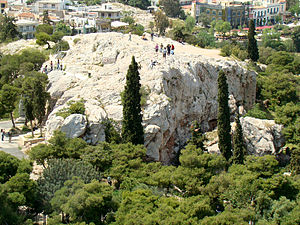 Areopagus - The Areopagus as viewed from the Acropolis.