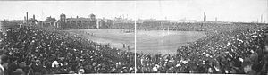 "Frank Miles Day - 1908 Army-Navy game at Franklin Field, University of Pennsylvania. Day designed the 2nd Franklin Field (1903, demolished 1922), shown above, and Weightman Hall (""The Fieldhouse"") (1903-04), visible in the upper left. The current stadium was designed in 1922 by Day's partner, Charles Zeller Klauder, who also added its upper deck in 1925."