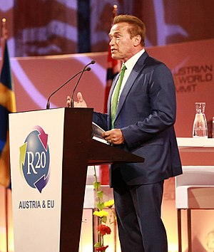 R20 Regions of Climate Action - R20 founder Arnold Schwarzenegger speaks at the R20 AUSTRIAN WORLD SUMMIT 2017 in Vienna