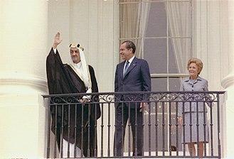 Faisal of Saudi Arabia - King Faisal, US President Richard Nixon and his wife Pat Nixon (27 May 1971)