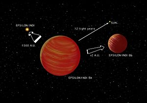 Stars and planetary systems in fiction - Artist's conception of the Epsilon Indi system showing Epsilon Indi and its brown-dwarf binary companions