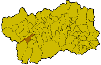 Arvier - Location of the commune of Arvier within the Valle d'Aosta