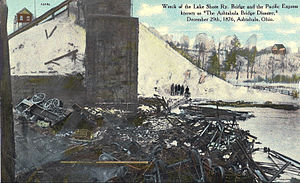 Ashtabula River railroad disaster - Postcard photo of the wreck