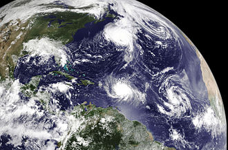 Hurricane Earl (2010) - Satellite image of the North Atlantic Ocean on August 29 depicting hurricanes Danielle (top) and Earl (middle) as well as two tropical waves that would eventually develop into tropical storms Fiona and Gaston (right)