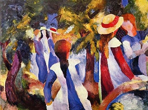 August Macke Dziewczyny pod drzewami, 1914