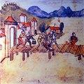 Ausbruch des Alten Zürichkriegs, 1443, Händler von Schwyz und Glarus werden beschimpft und über die Seebrücke weggejagt, Chronik Werner Schodoler, 1514 - Stadtmuseum Rapperswil 2013-01-05 16-32-50 -ACD5-.JPG