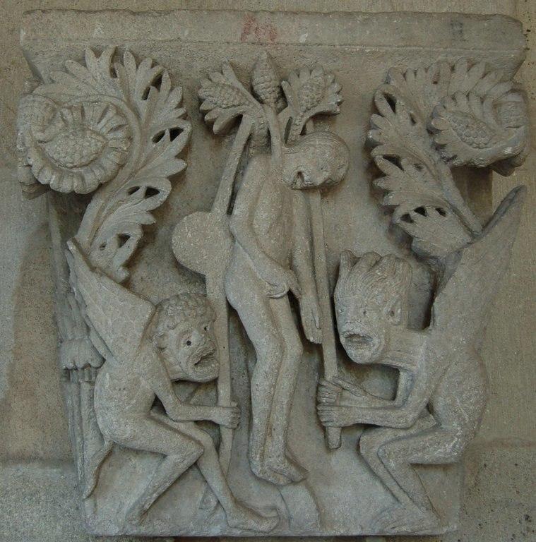 Autun Cathedrale Chapiteau pendaison de Judas
