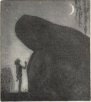 """Awake Groa Awake Mother"" by John Bauer, a son at his mother's grave seeking aid against his stepmother."