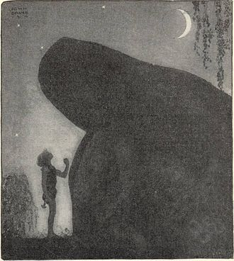 "Stepmother - ""Awake Groa Awake Mother"" by John Bauer, a son at his mother's grave seeking aid against his stepmother."