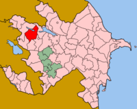 Map of Azerbaijan showing Shamkir Rayon