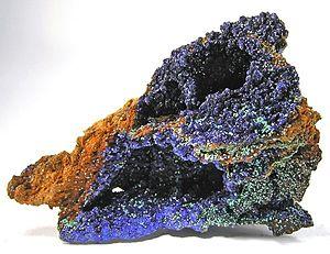 Supergene (geology) - Azurite and Malachite on Limonite from Bisbee, Arizona, USA