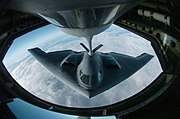 B-2 during aerial refueling over the Pacific Ocean. In-flight refueling capability gives the B-2 a range limited only by maintenance and crew endurance.