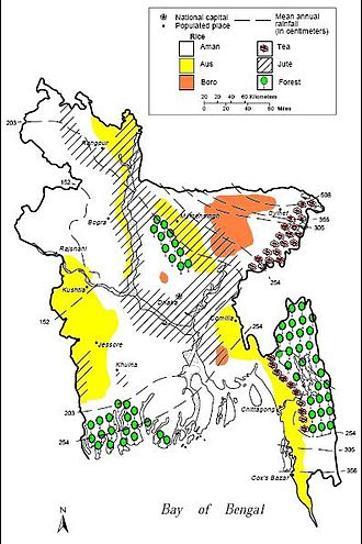 Economy of Bangladesh - Map showing the growing areas of major agricultural products.