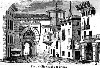 Gate of the Ears - Back facade (back side) of the Gate of the Ears. Drawing by Francisco de Paula Mellado in 1851.