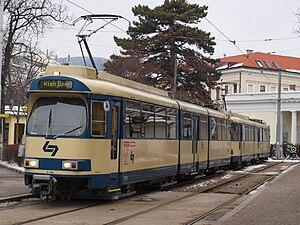Badner Bahn train at Baden Josefsplatz terminus.