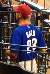 "A man in a blue baseball jersey faces away from the camera. He is wearing a red baseball cap and has a red T-shirt underneath his jersey, which reads ""Bako"" in small white print and ""23"" in larger white print. He is standing between two metal railings."