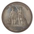 Baksida av medalj med moder Svea som sätter en krona på Karl Johans huvud, 1810 - Skoklosters slott - 99561.tif