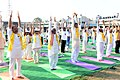 Bandaru Dattatreya performing Yoga along with other participants, on the occasion of the 2nd International Day of Yoga – 2016, organised by the Patanjali Yog Samithi and Bharath Swabhiman Trust, at LB Stadium, Hyderabad (1).jpg