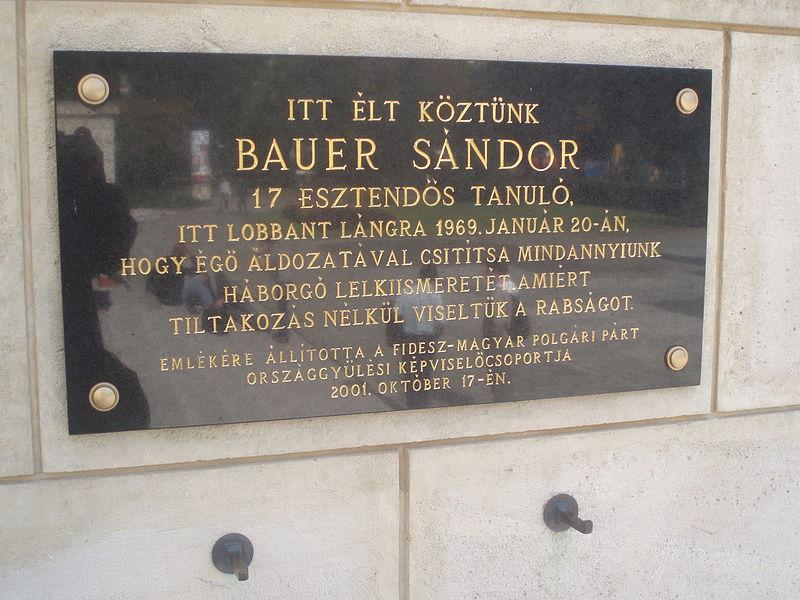 File:Bauer Sándor emléktáblája a Nemzeti Múzeumnál.jpg