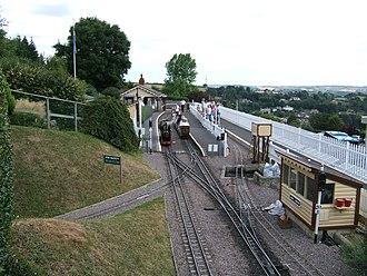 7 1/4 in gauge railway - Steam locomotive running round its train on the Beer Heights Light Railway, Devon, England
