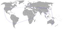 Percorso della Torcia olimpica. Il percorso annullato a Taipei sull'isola di Taiwan, è mostrato in rosso.