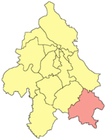Location of Mladenovac within the city of Belgrade