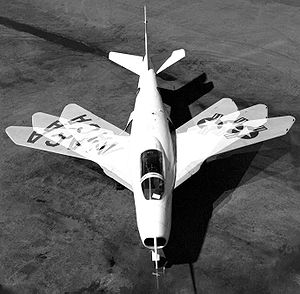 Bell X-5 - A composite photograph showing the Bell X-5's variable-sweep wing.