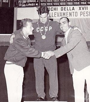 Yevgeny Minayev - Isaac Berger, Yevgeny Minayev and Sebastiano Mannironi at the 1960 Olympics