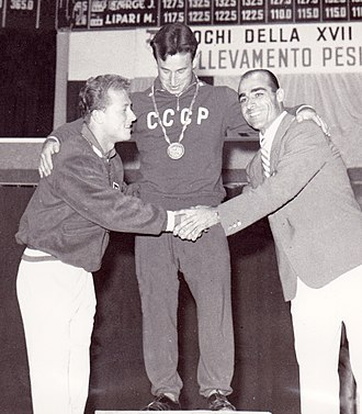 Yevgeny Minayev - Isaac Berger, Yevgeny Minayev and Sebastiano Mannironi at the 1960 Olympics