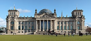 The Reichstag building seen from the west. Ins...