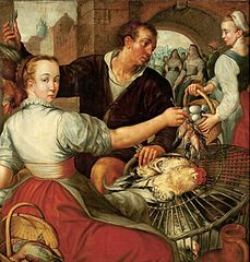 Market scene with a poultry seller.