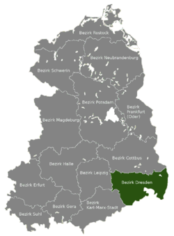 Location of Bezirk Dresden within the German Democratic Republic