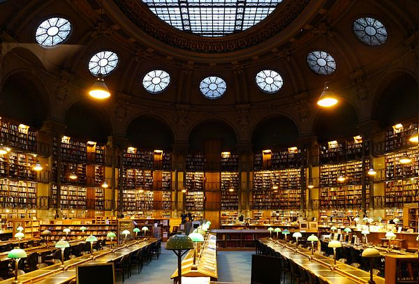 Richelieu reading room, National Library of France Bibliotheque nationale de France, Paris (site Richelieu) - Salle Ovale 2.jpg