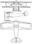 Blériot-SPAD S.34 3-view Les Ailes August 18, 1921.png