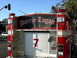 Banner affixed to a San Diego fire engine