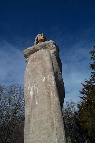 Black Hawk Statue - Lorado Taft's The Eternal Indian stares solemnly across the Rock River.