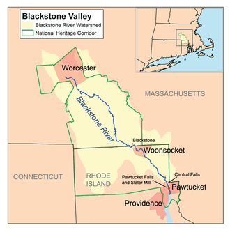 Blackstone River - Image: Blackstonevalleymap