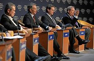Tony Blair, David A. Harris and Rick Warren at...