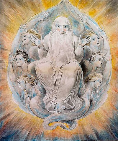 God blessing the seventh day, a watercolor painting depicting God, by William Blake (1757–1827) Blake God Blessing.jpg