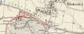 Blakesley Miniature Railway superimposed onto Northamptonshire LV.NE (includes Adstone; Blakesley; Weston and Weedon; Woodend). Revised 1899. Published 1901.png