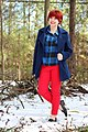 Blue Peacoat, Plaid Shirt, Red Jeans, Studded Loafers, & a Red Pixie Cut.jpg