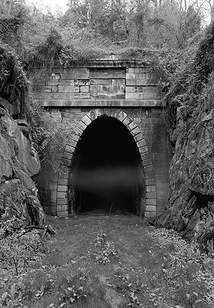 Virginia Central Railroad - Crozet's Blue Ridge Tunnel seen here after its abandonment and replacement during World War II by the Chesapeake and Ohio Railway.